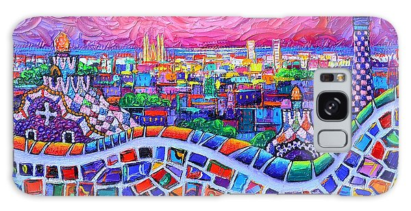 Vibrant Barcelona Night View From Park Guell Modern Impressionism Knife Painting Ana Maria Edulescu Galaxy Case