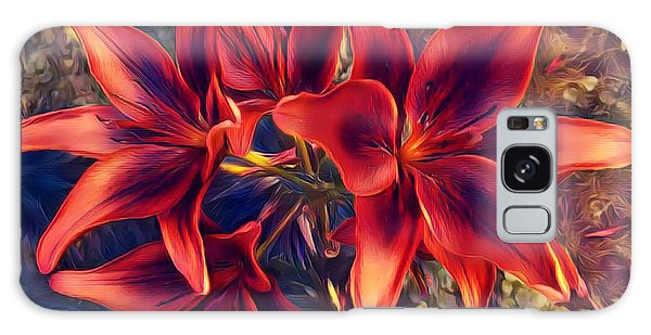 Vibrant Red Lilies Galaxy Case