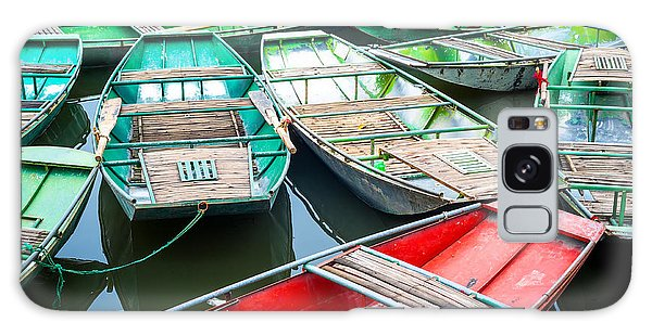 Docked Boats Galaxy Case - Vietnamese Boats On The River Early In by Perfect Lazybones