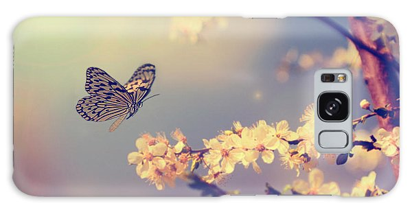 Horizontal Galaxy Case - Vintage Butterfly And Cherry Tree by Dark Moon Pictures