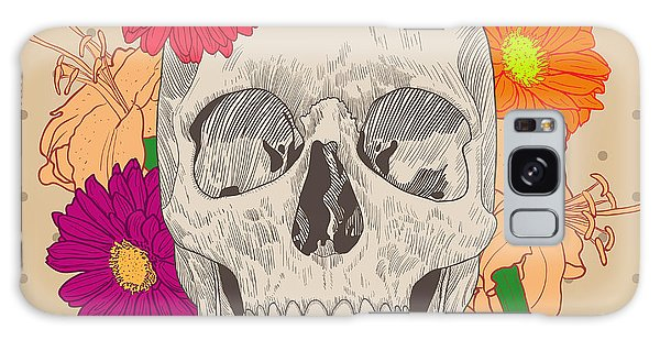 Death Galaxy Case - Vintage Card With Skull And Flowers On by Golubok