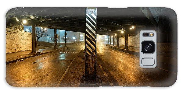 Stone Wall Galaxy Case - Vintage Chicago Bridge At Night by Bruno Passigatti
