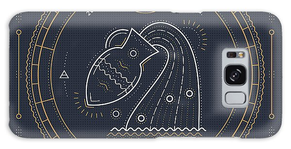 Calendar Galaxy Case - Vintage Thin Line Aquarius Zodiac Sign by Painterr