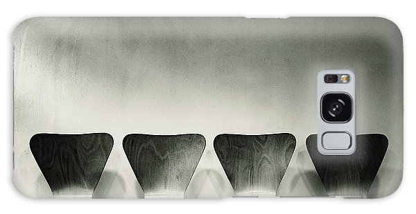 Waiting Room With Empty Wooden Chairs, Concept Of Waiting And Passage Of Time, Black And White Image, Free Space For Text. Galaxy Case