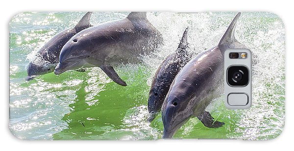 Wake Surfing Dolphin Family Galaxy Case