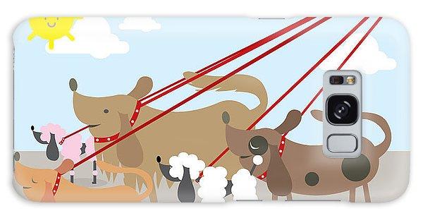 Leash Galaxy Case - Walking Dogs Vectorillustration by Lyeyee