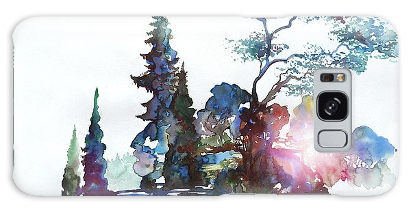Watercolor Forest And Pond Galaxy Case