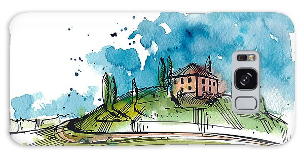 Old Road Galaxy Case - Watercolor Illustration Of A Tuscany by Julia Henze