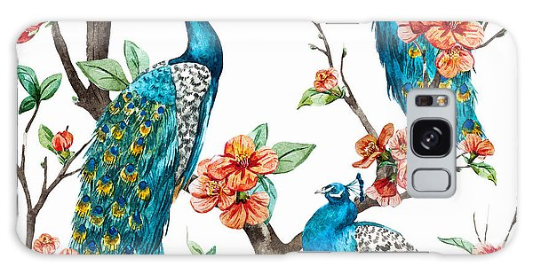 New Trend Galaxy Case - Watercolor Pattern Peacock On A Tree by Anastasia Lembrik