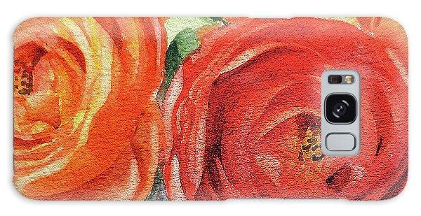 Hyper-realistic Galaxy Case - Watercolor Ranunculus Flowers Close Up  by Irina Sztukowski