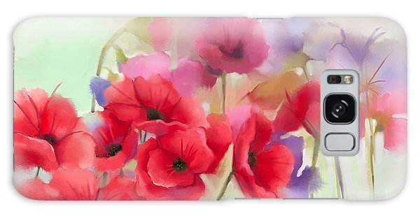Nature Galaxy Case - Watercolor Red Poppy Flowers Painting by Pluie r