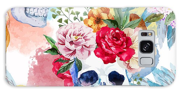 New Trend Galaxy Case - Watercolor, Skull, Flowers, Indian by Anastasia Lembrik