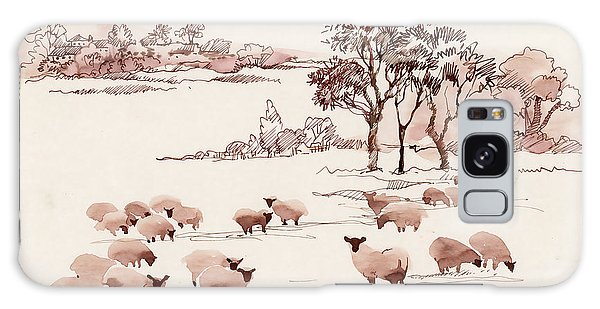 Pasture Galaxy Case - Watercolor Summer Landscape With Sheep by Kostanproff