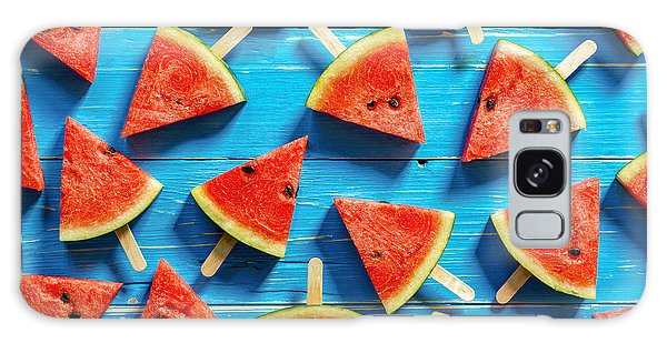 Summertime Galaxy Case - Watermelon Slice Popsicles On A Blue by I Am Kulz