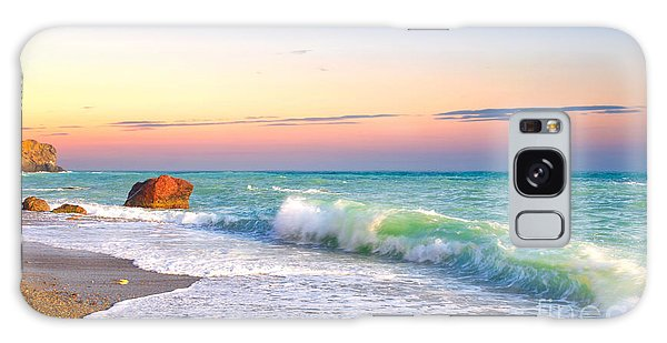 Travel Destinations Galaxy Case - Waves And Sky During Sunset by Biletskiy