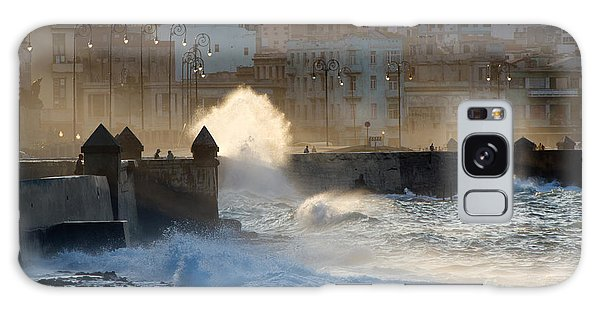 Tide Galaxy Case - Waves Crashing Against The Sea Wall Of by Corlaffra