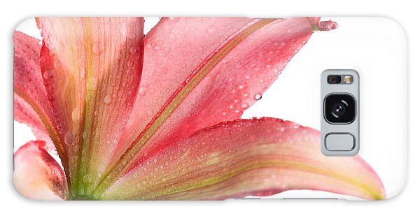 Water Droplets Galaxy Case - Wet Pink Lily From Below Against White by Johan Swanepoel