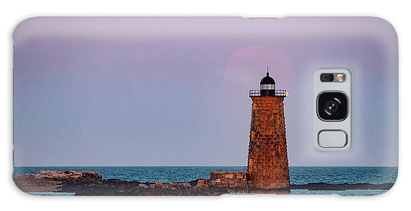 Whaleback Lighthouse Full Moon Rising Galaxy Case