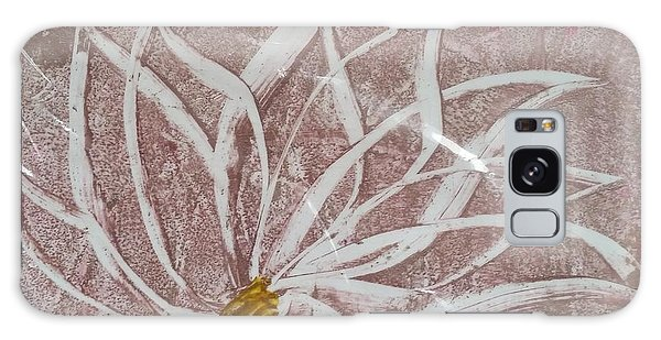 White Abstract Floral On Silverpastel Pink Galaxy Case