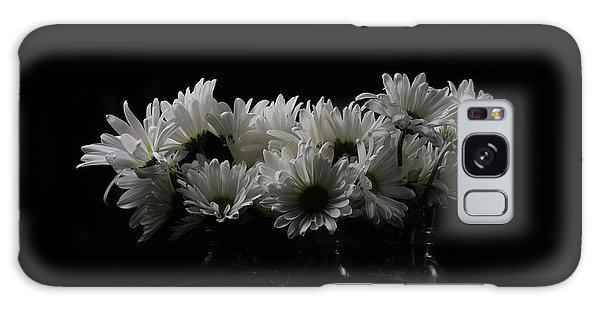 Vase Of Flowers Galaxy Case - White Daisy Flowers Black Background by Edward Fielding