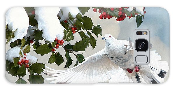 White Dove And Holly Galaxy Case