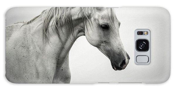 Galaxy Case featuring the photograph White Horse Winter Mist Portrait by Dimitar Hristov
