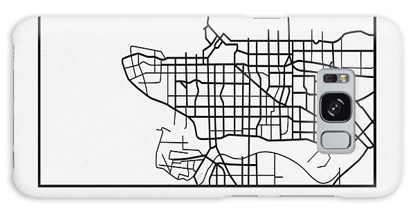 Vancouver City Galaxy Case - White Map Of Vancouver by Naxart Studio
