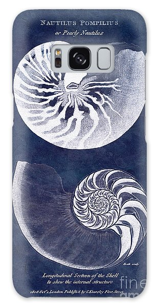 Scientific Illustration Galaxy Case - White Nautilus On Blue by Delphimages Photo Creations