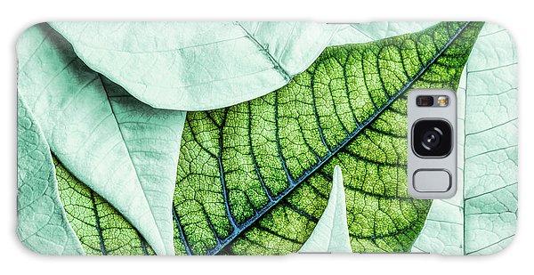 Green Leaf Galaxy Case - White Poinsetta Macro by Tom Mc Nemar