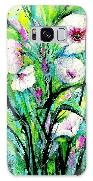 White Poppy Flowers Galaxy Case