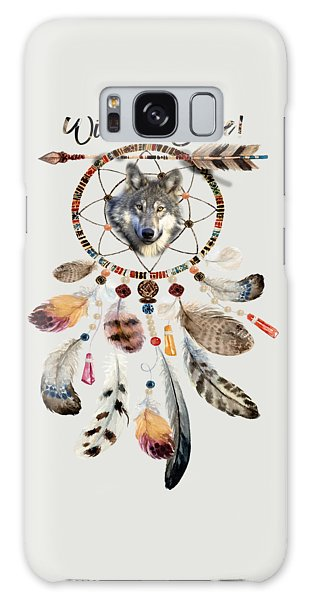 Galaxy Case featuring the mixed media Wild And Free Wolf Spirit Dreamcatcher by Georgeta Blanaru