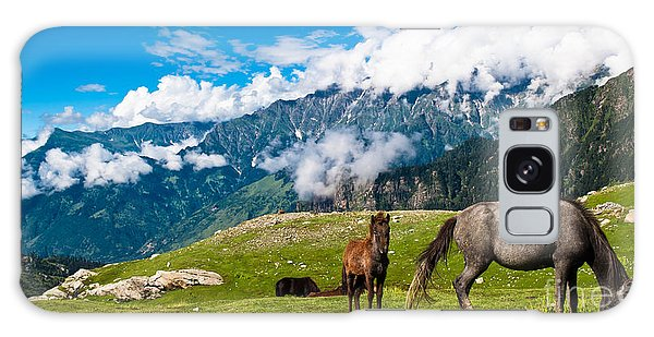 Horizontal Galaxy Case - Wild Horses Pasturing On Mountain by Banana Republic Images