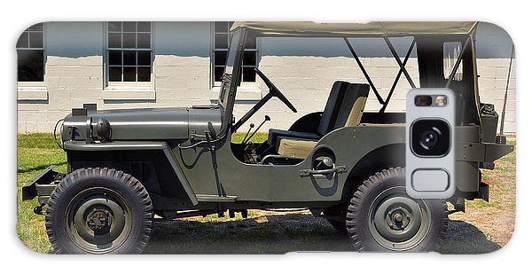 Galaxy Case featuring the photograph Willys Jeep Usa With Canopy At Fort Miles by Bill Swartwout Fine Art Photography