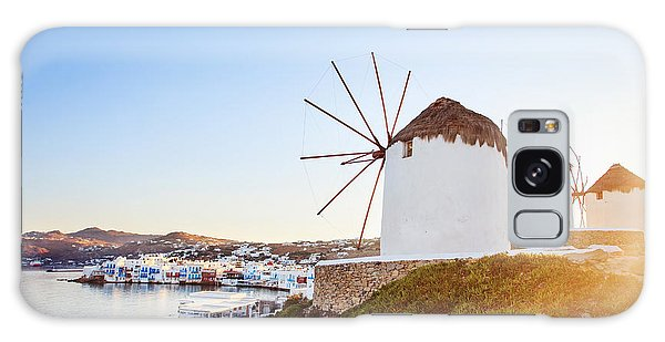 Travel Destinations Galaxy Case - Windmills Of Mykonos, Famous Landmark by Justin Black