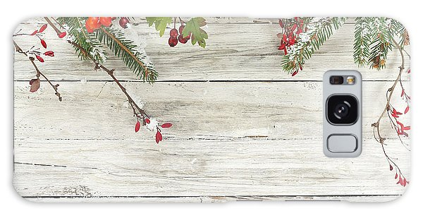 Pine Branch Galaxy Case - Winter Background by Alina G