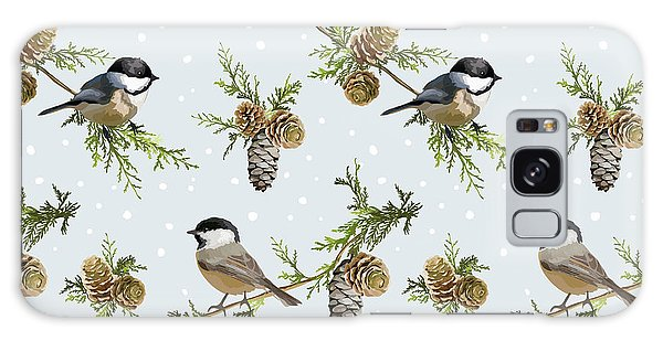 Pine Branch Galaxy Case - Winter Birds Retro Background - by Woodhouse