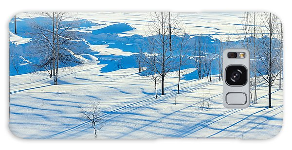 Dawn Galaxy Case - Winter Landscape. Sunset In The Winter by Leonid Ikan