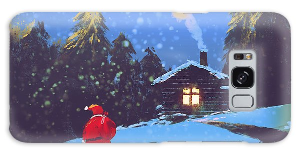 Santa Claus Galaxy Case - Winter Landscape With Santa Claus And by Tithi Luadthong