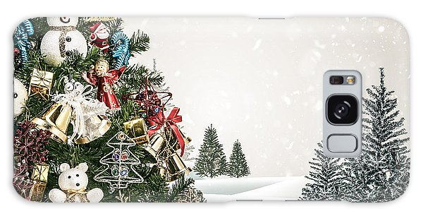 Pine Branch Galaxy Case - Winter Landscape With Snowy Fir Trees by Janon Stock