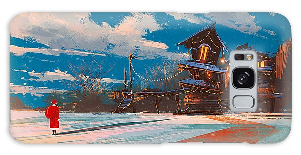 Santa Claus Galaxy Case - Winter Landscape With Wooden House At by Tithi Luadthong