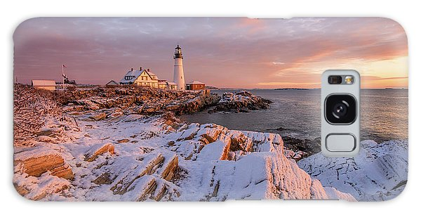 Winter Sunrise At Portland Head Light Galaxy Case