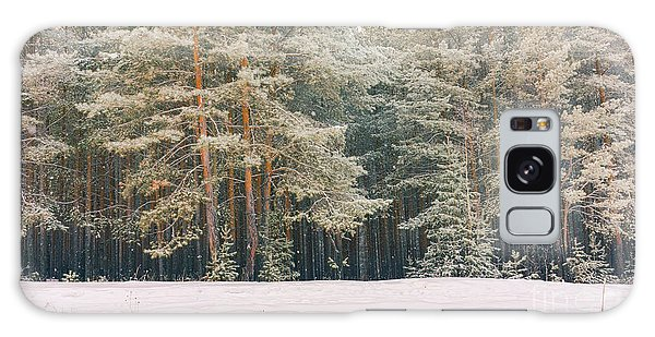 Scenery Galaxy Case - Wintry Landscape Scenery With Flat by Supertrooper
