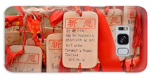 Spirituality Galaxy Case - Wish Cards In A Buddhist Temple In by Praphat Rattanayanon