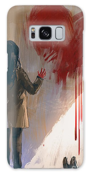 Death Galaxy Case - Woman Drawing Red Heart With Blood On by Tithi Luadthong