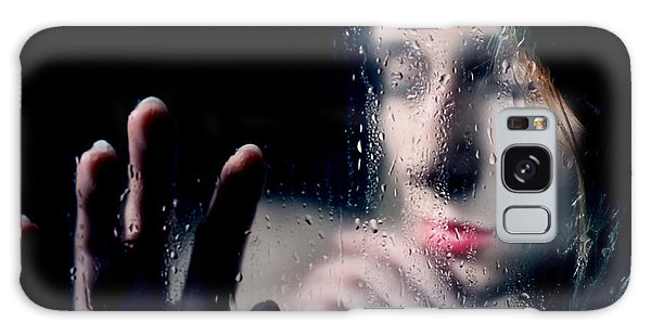 Woman Portrait Behind Glass With Rain Drops Galaxy Case