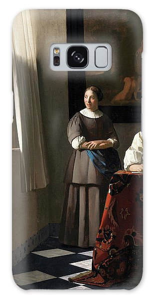 Vermeer Galaxy Case - Woman Writing A Letter, With Her Maid, 1670 by Jan Vermeer