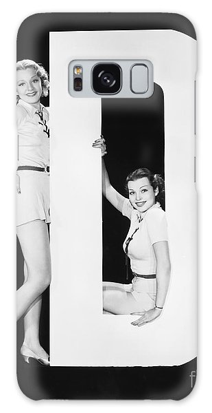 Two People Galaxy Case - Women Posing With Huge Letter D by Everett Collection