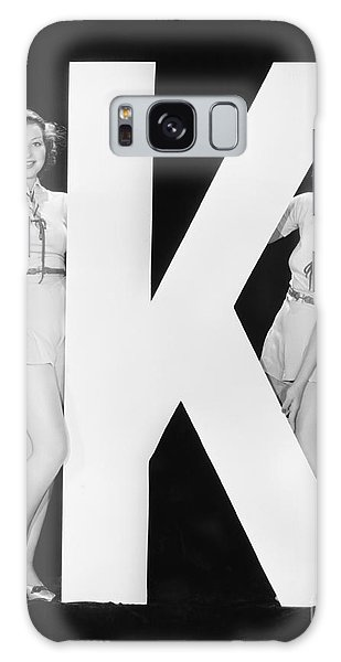 Two People Galaxy Case - Women Posing With Huge Letter K by Everett Collection