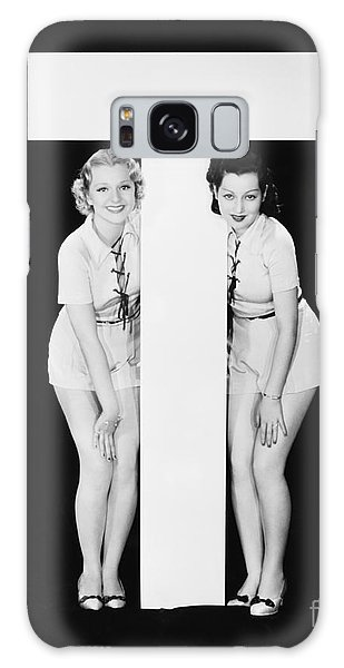 Two People Galaxy Case - Women Posing With Huge Letter T by Everett Collection