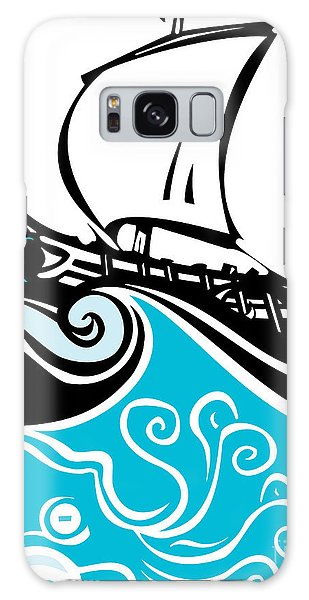 Mythology Galaxy Case - Woodcut Style Ancient Greek Galley With by Jef Thompson